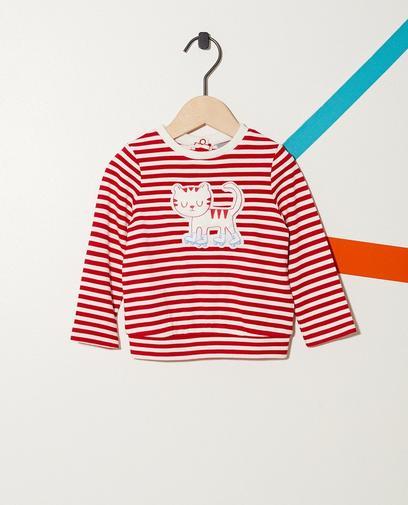 Gestreifter Sweater mit Katzenprint